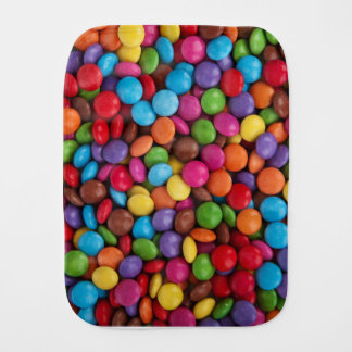 Colorful skittles candy baby burp cloths