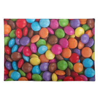 Colorful skittles candy placemat