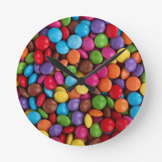 Colorful skittles candy round clock