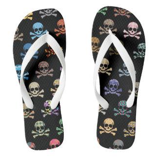 Colorful Skull & Crossbones Flip Flops