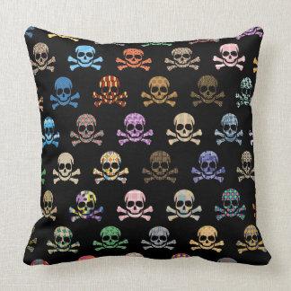 Colorful Skull & Crossbones Throw Pillow