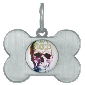 Colorful Skull Design Pet Tag