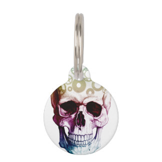 Colorful Skull Design Pet Tags