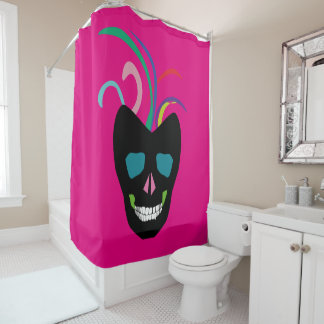 Colorful Skull Shower Curtain Fun Bright Pink