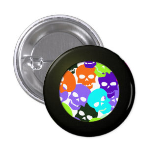Colorful Skulls 1 Inch Round Button
