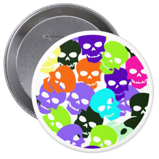 Colorful Skulls 4 Inch Round Button