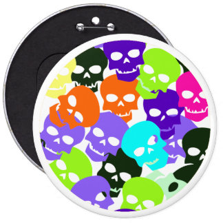 Colorful Skulls 6 Inch Round Button