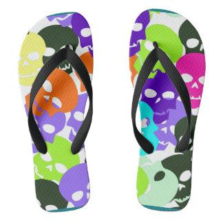 Colorful Skulls Flip Flops