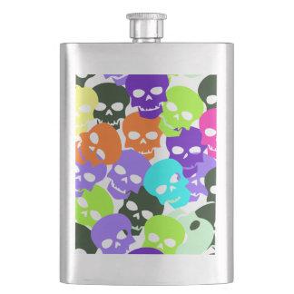 Colorful Skulls Hip Flask