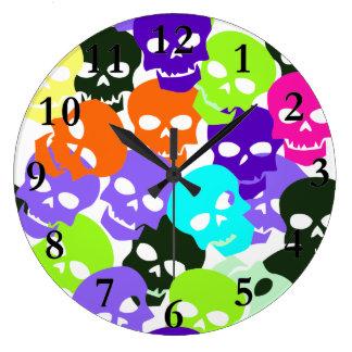 Colorful Skulls Large Clock