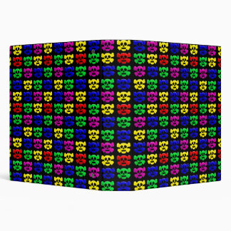 Colorful skulls pattern 3 ring binder