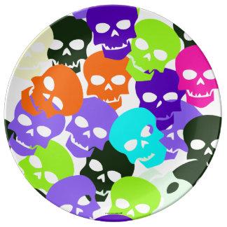 Colorful Skulls Porcelain Plate
