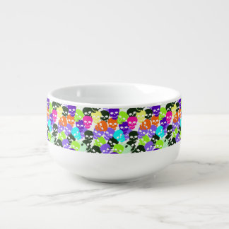 Colorful Skulls Soup Bowl With Handle
