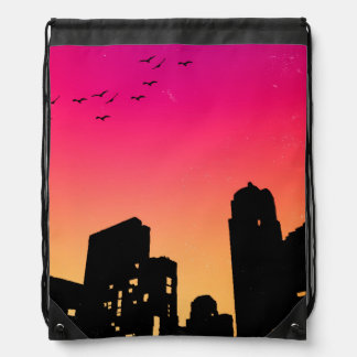 Colorful Sky w/ Birds and Buildings Silhouette Drawstring Bag