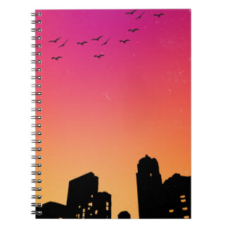 Colorful Sky w/ Birds and Buildings Silhouette Notebooks