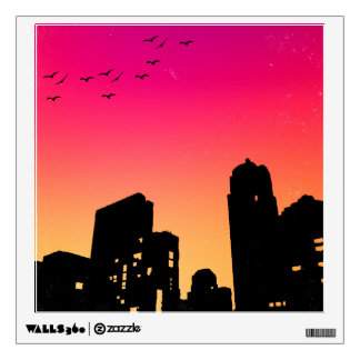 Colorful Sky w/ Birds and Buildings Silhouette Wall Decal