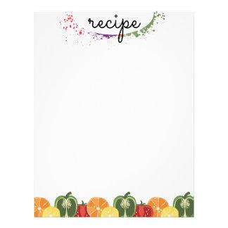 colorful sliced fruit vegetable recipe letterhead