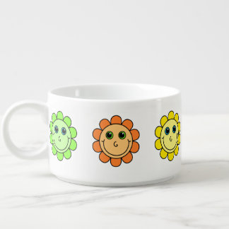 Colorful Smiley Face Flowers Bowl