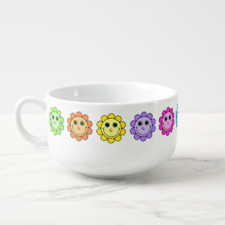 Colorful Smiley Face Flowers Soup Bowl With Handle