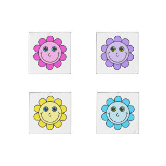 Colorful Smiley Face Flowers Stone Magnets