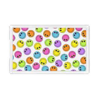Colorful Smiley Faces Acrylic Tray