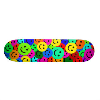 COLORFUL SMILEY FACES COLLAGE SKATEBOARD