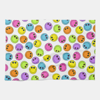 Colorful Smiley Faces Kitchen Towel