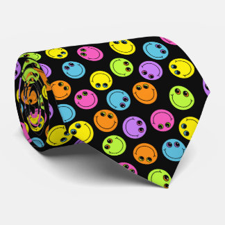 Colorful Smiley Faces on Black Double-sided Tie