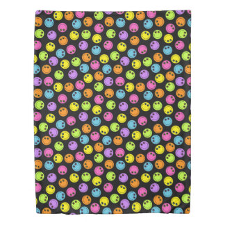 Colorful Smiley Faces on Black Duvet Cover