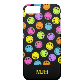 Colorful Smiley Faces on Black Monogram iPhone 8/7 Case