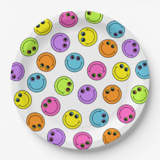 Colorful Smiley Faces Party Paper Plate