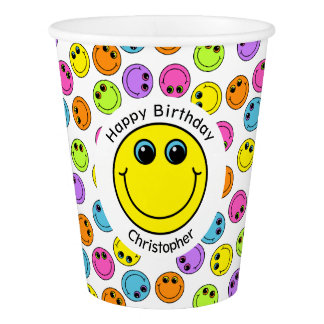 Colorful Smiley Faces Personalized Party Paper Cup