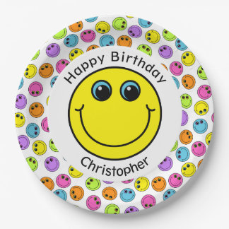 Colorful Smiley Faces Personalized Party Paper Plate