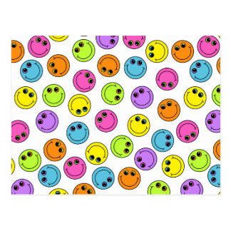 Colorful Smiley Faces Postcard