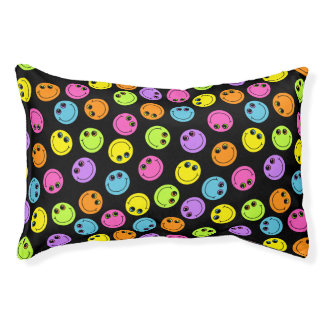 Colorful Smiley Faces Small Dog Bed