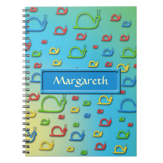 Colorful snails everywhere spiral note book