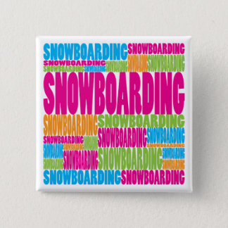 Colorful Snowboarding 2 Inch Square Button