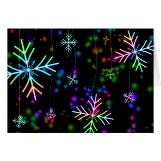Colorful snowflake Christmas pattern greeting card