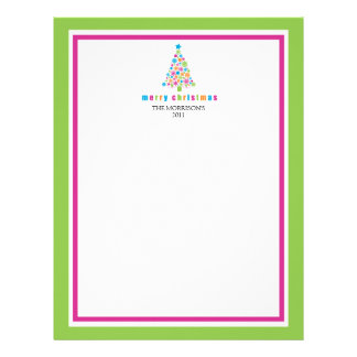 Colorful Snowflake Christmas Tree Letterhead
