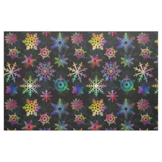Colorful Snowflakes Winter Christmas Pretty Black Fabric