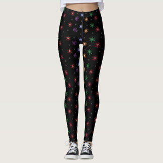 Colorful Snowflakes Winter Holiday  Leggings
