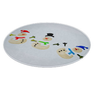 Colorful Snowman Christmas Parade Holiday Cutting Board