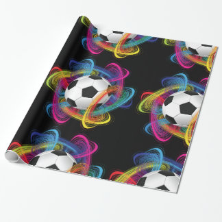 Colorful Soccer Ball Glossy Wrapping Paper