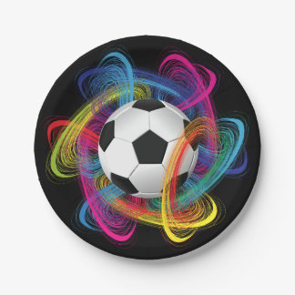 Colorful Soccer Ball Paper Plates