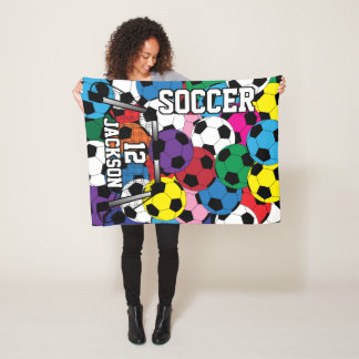Colorful Soccer Ball with DIY Text Fleece Blanket