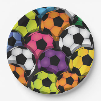 Colorful Soccer Balls Design Paper Party Plate 9 Inch Paper Plate