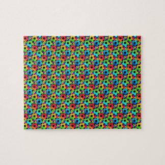Colorful Soccer Balls Futbol Jigsaw Puzzle