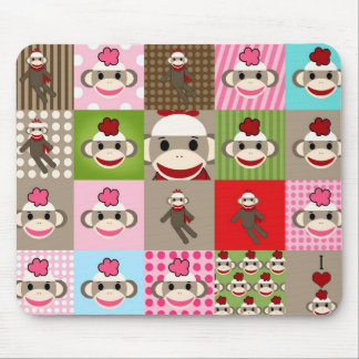Colorful Sock Monkey Patchwork Mouse Pad