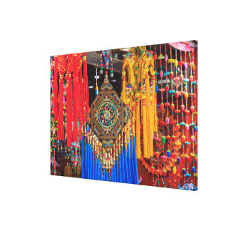 Colorful souvenirs in a shop, China Canvas Print