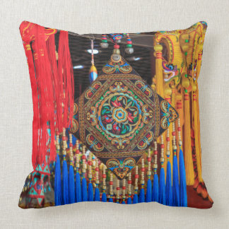 Colorful souvenirs in a shop, China Throw Pillow